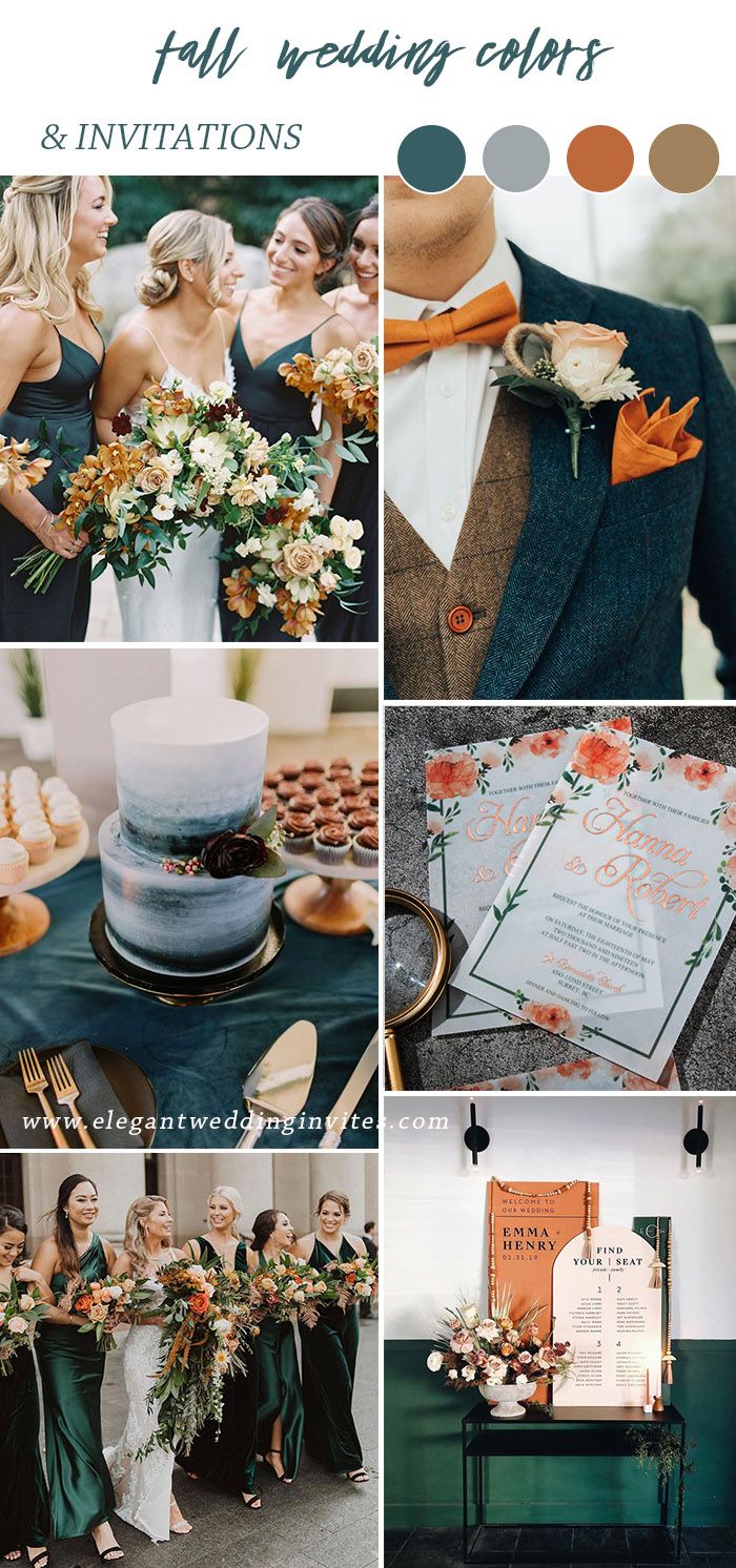 bold emerald green and rust orange autumn wedding color combos