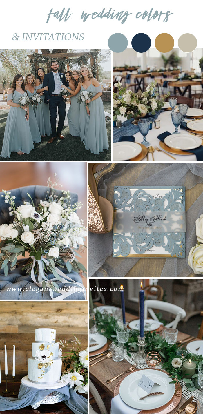 chic industrial dusty blue and gold autumn wedding colors