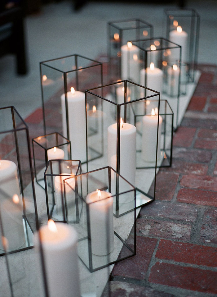 chic modern glass and lucite rectangular candle holder wedding decoration