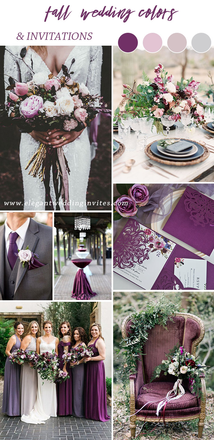 fancy shades of purple rustic and vintage fall wedding colors