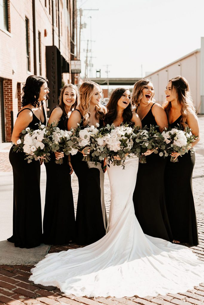 gorgeous modern black bridesmaid dresses