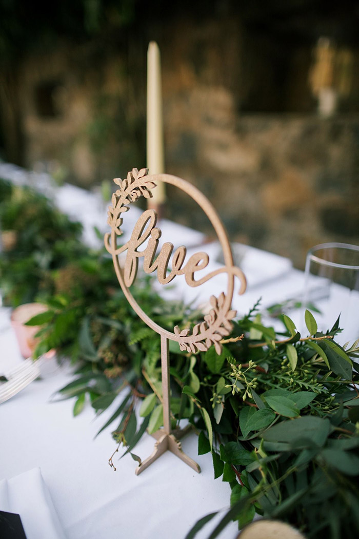 laser cutting leave wreath wedding table number signjpg