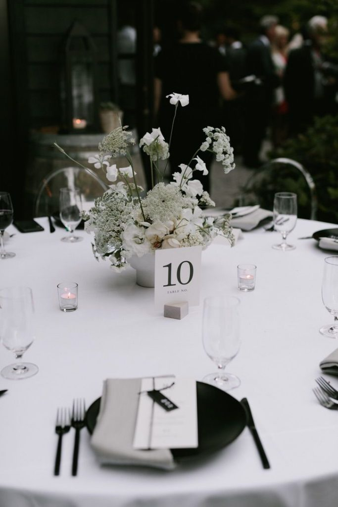 minimal and modern black and white wedding centerpieces