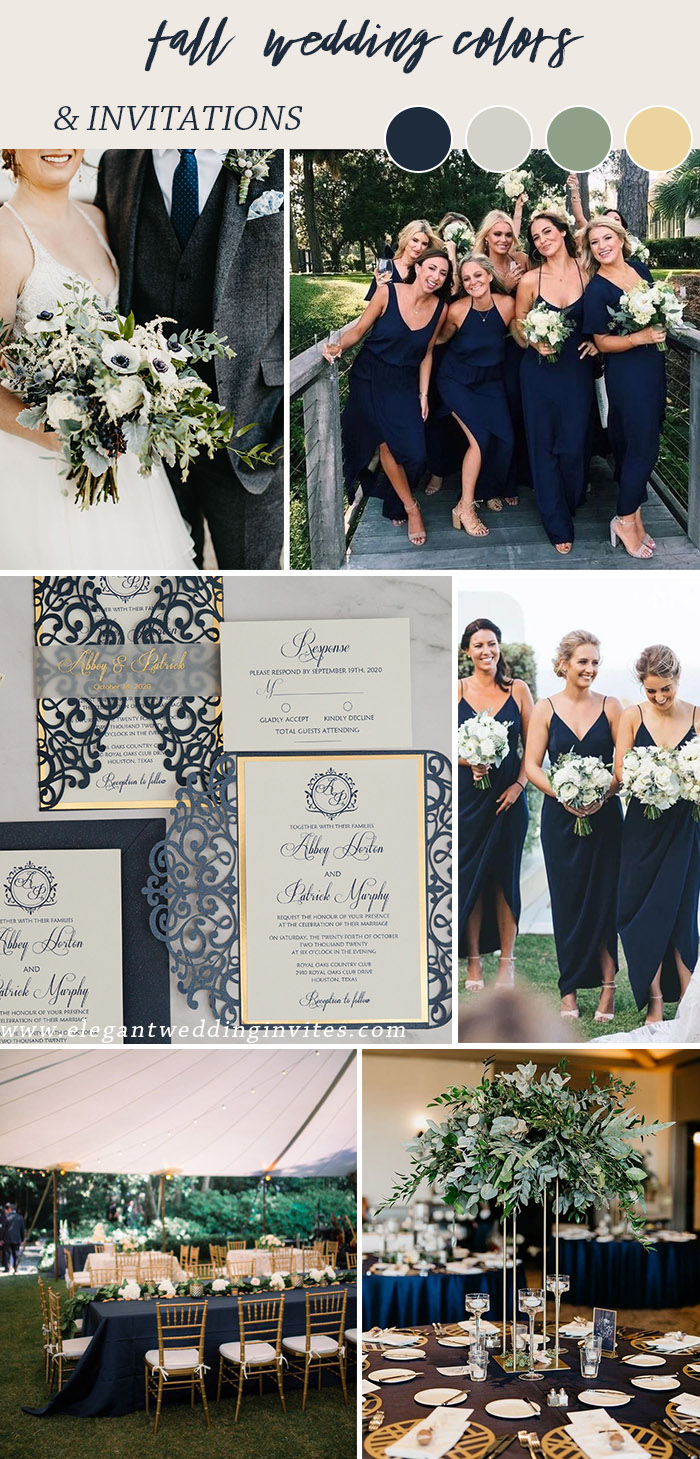 navy blue and gold organic fall and winter wedding colors