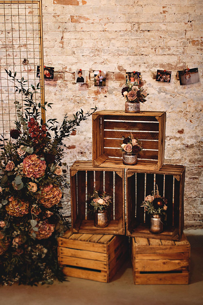 rustic wooden crate and floral fall wedding decoration
