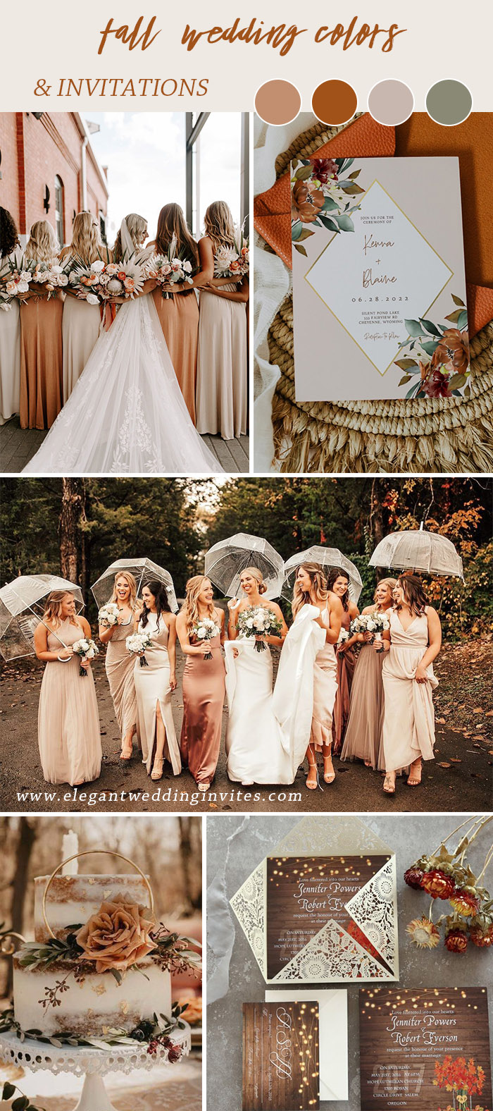 shades of rust orange and peach fall wedding colors
