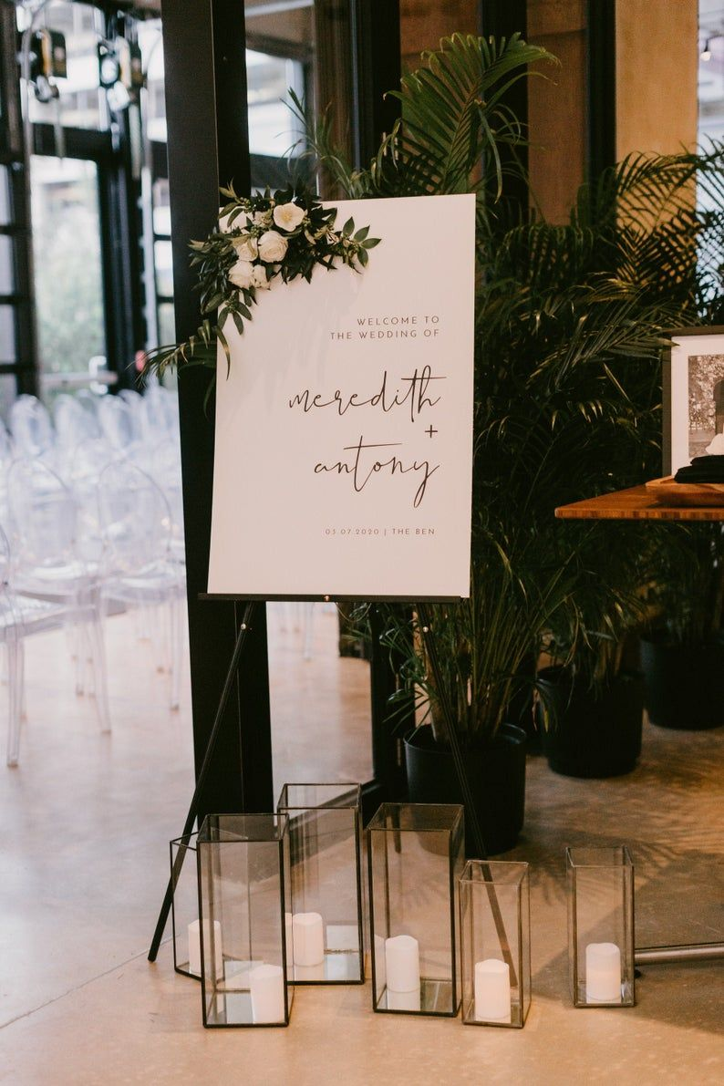 simple balck and white calligraphy wedding welcome sign