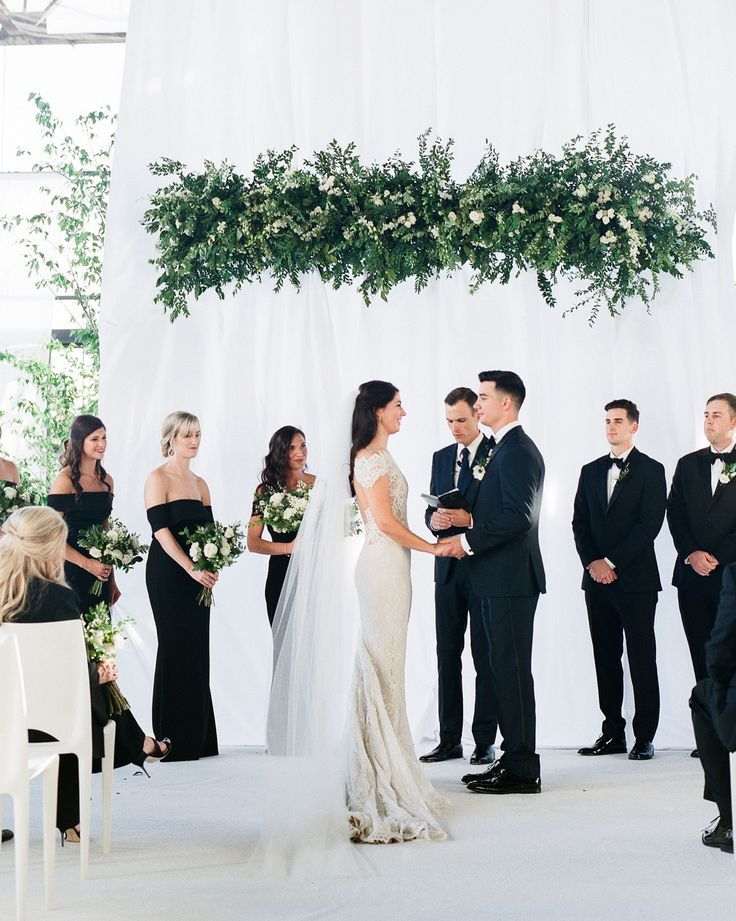 small modern white and black wedding ceremony