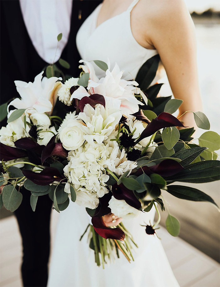 stylish modern black and white wedding and bridal bouquets