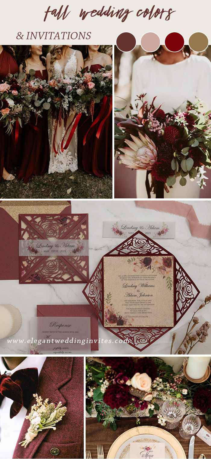 timelessly popular burgundy blush and gold fall wedding color palette