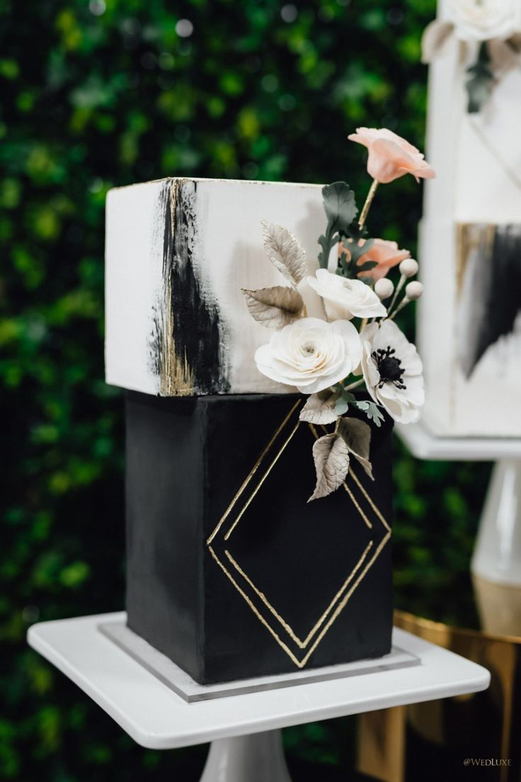 unique modern geometric black and white wedding cakes