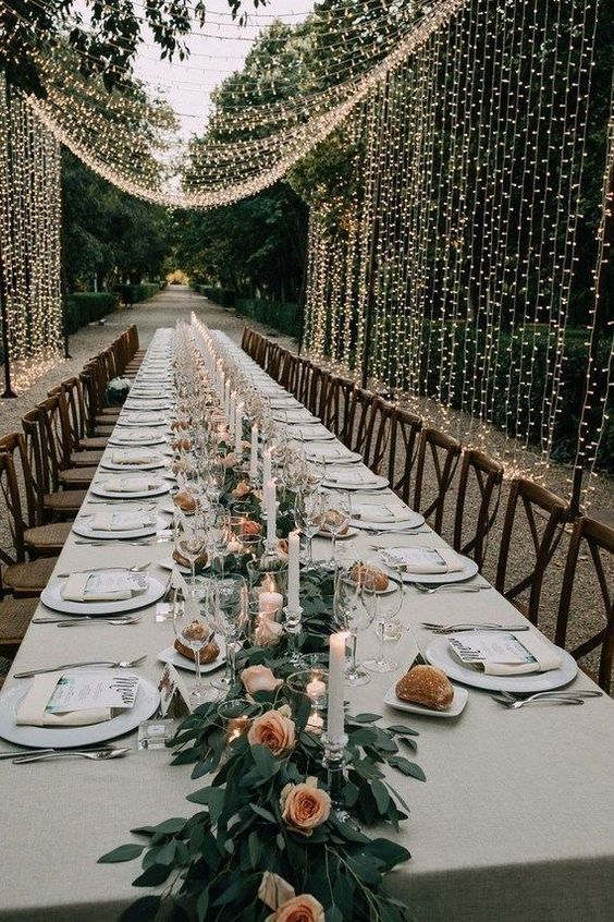 amazing greenery wedding garden table ideas at home