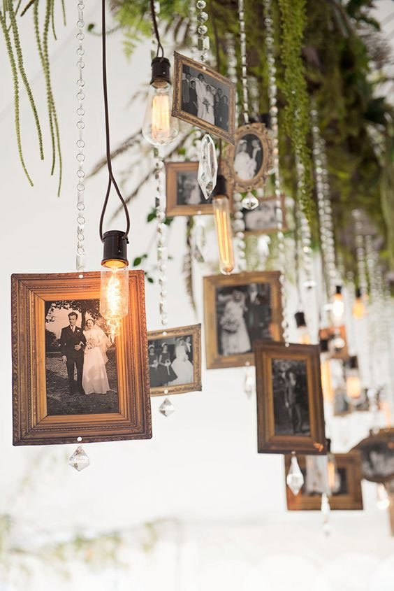 amazing hanging old photos at tree to display couples life
