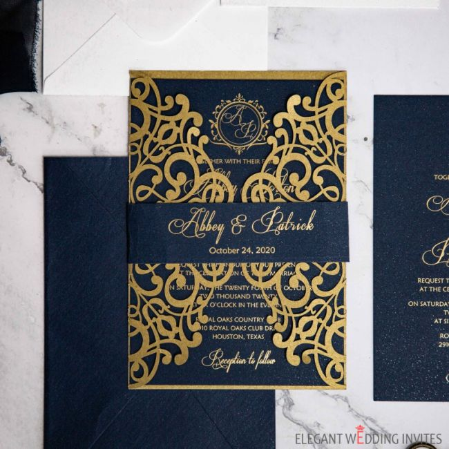 gold and navy that sparkles and shine foiling wedding invitation ewws272