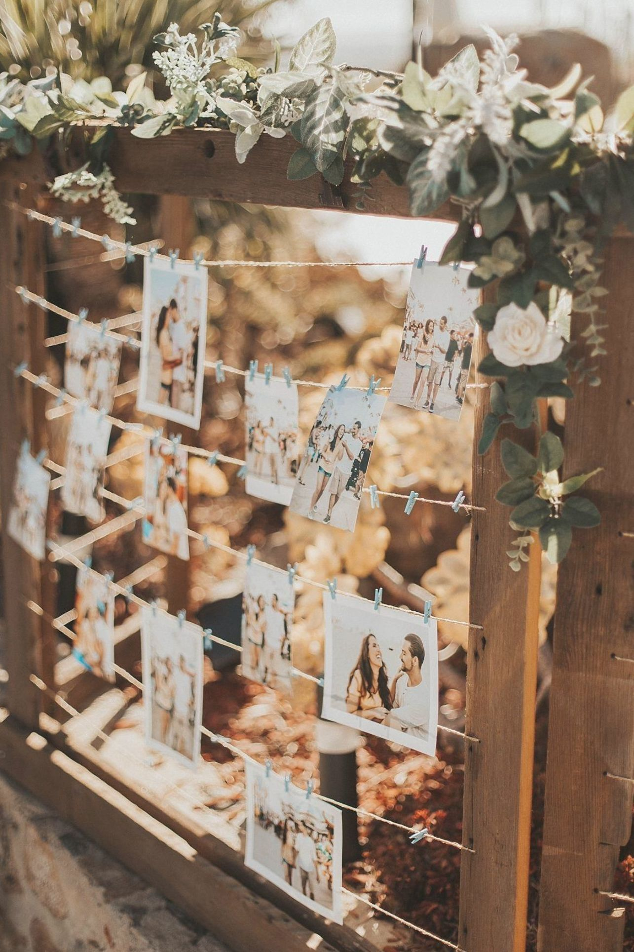 hanging photo to display the sweet moment with wooden frame