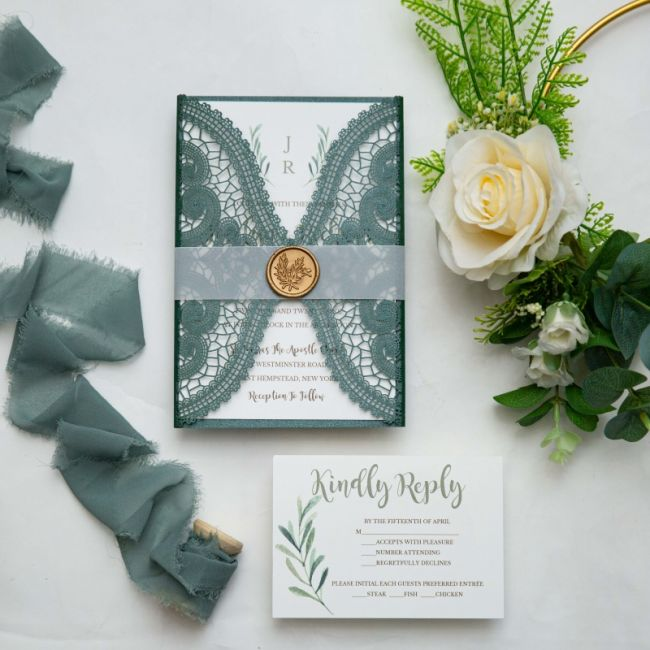 hunter green laser cut wedding invitations with vellum belly band and wax seal ewws307 1