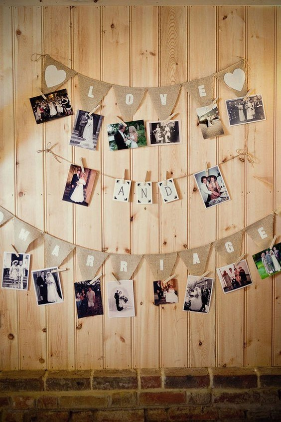 love photo on wall picture collage display wedding ideas