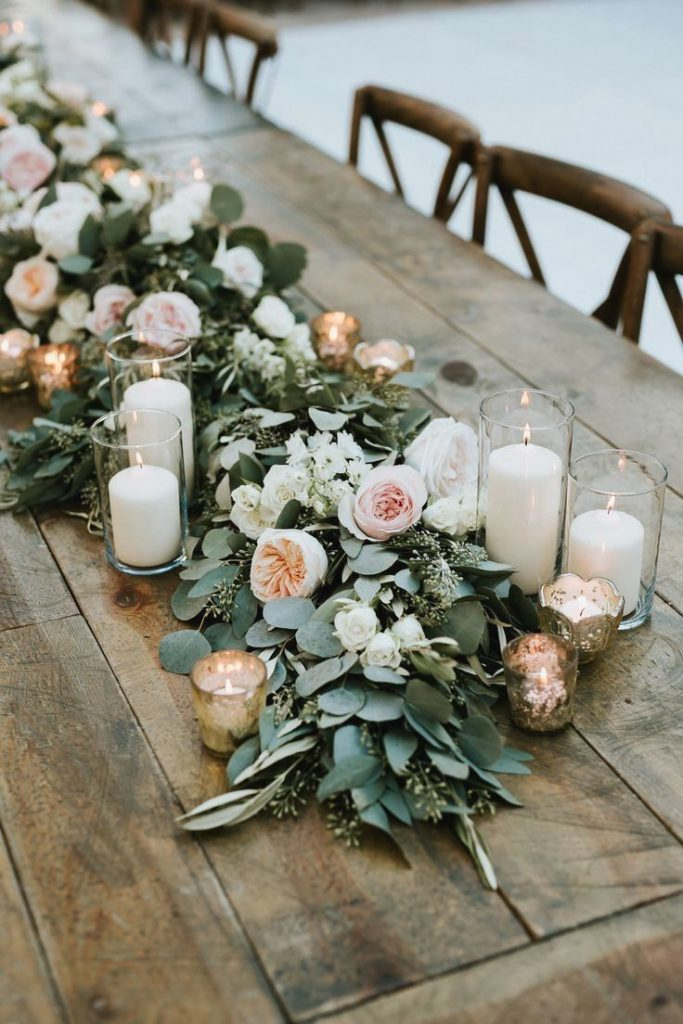 sage green leaves and blush floral wedding decor ideas for host wedding at home
