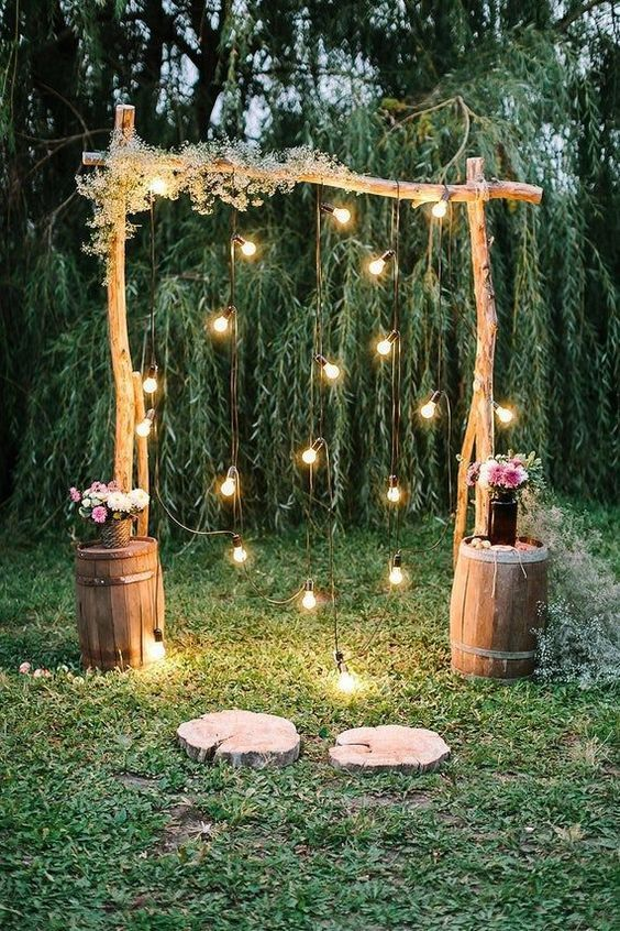 simple wedding backdrop with light decor ideas at home