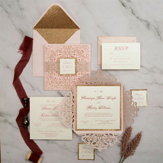stylish blush laser cut wedding invites with rose gold glittery and vellum tag 1