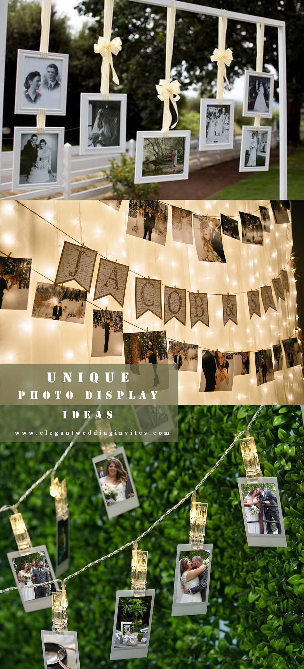 unique hanging your wedding photo display with light strignt ideas