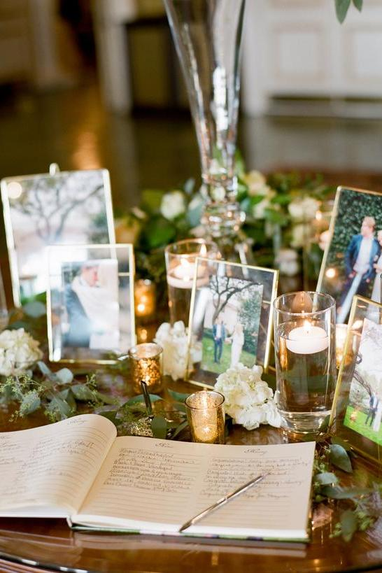 wedding guests book decored with wedding photo ideas