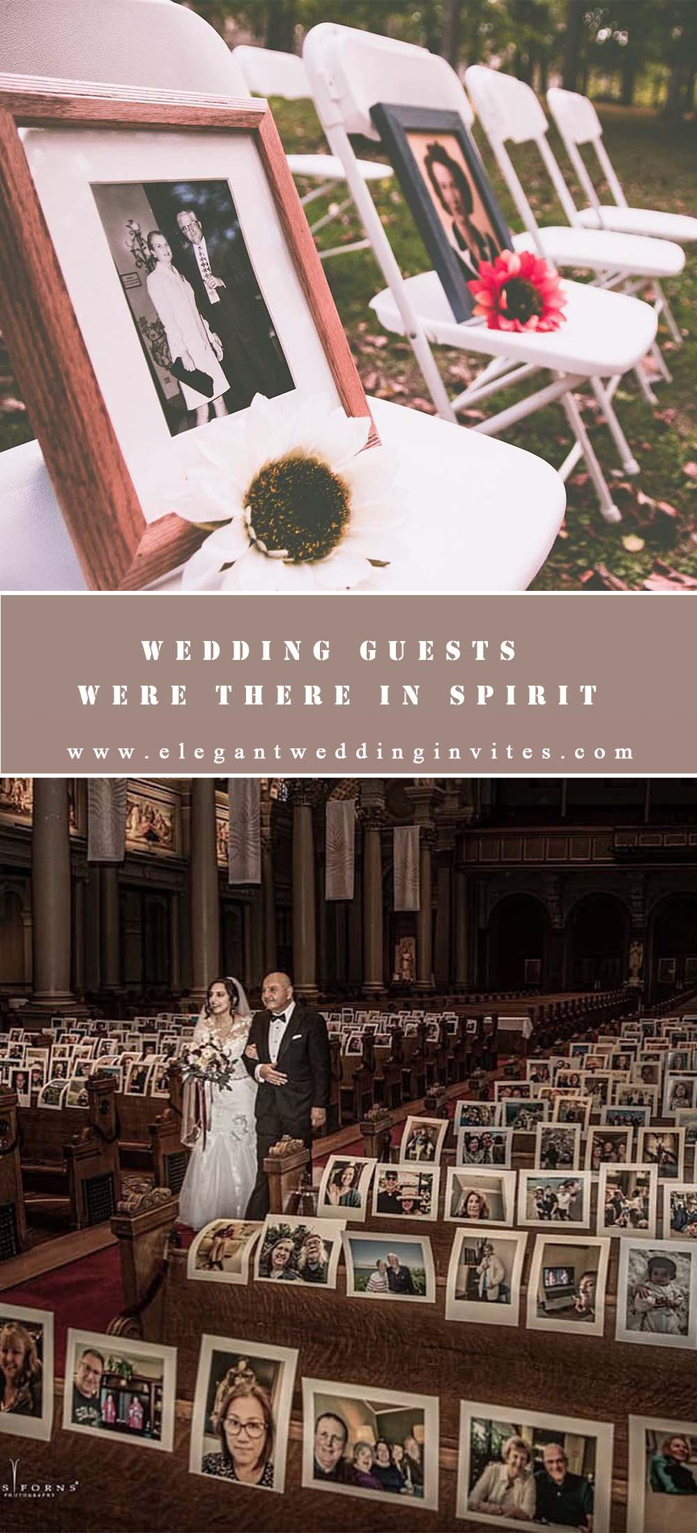 wedding guests were there in spirit with unique photo display ideas