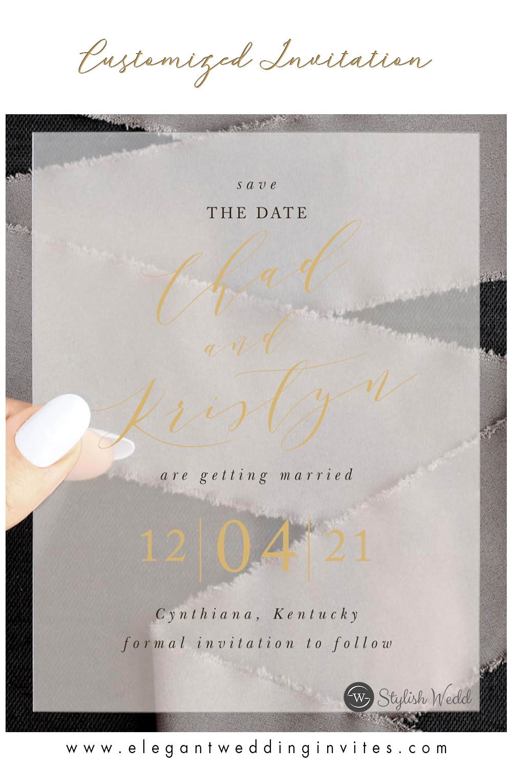 Customized gold and black vellum save the date cards