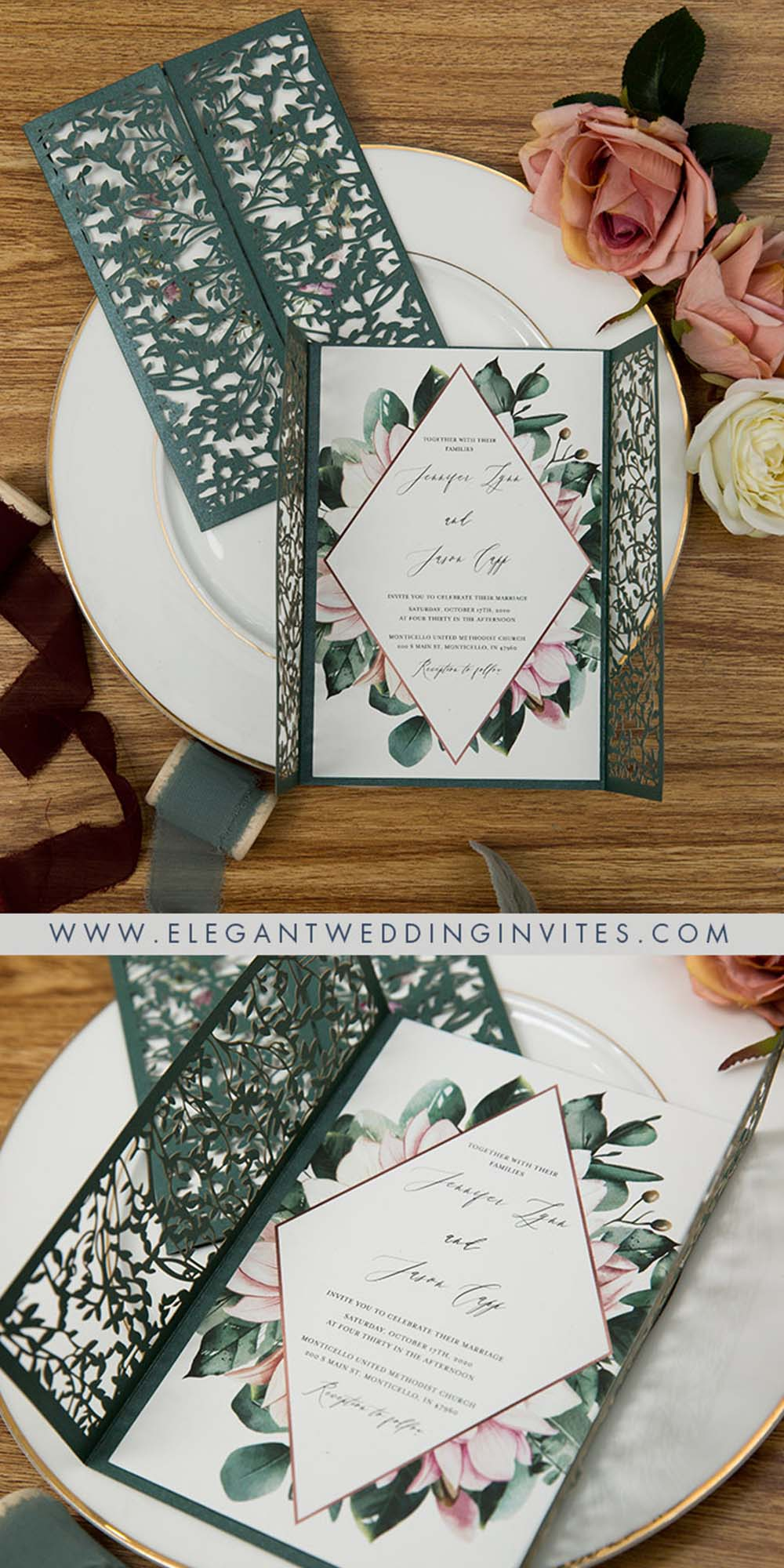 EWDM013 forest green and dusty rose floral laser cut two gate wedding invitations