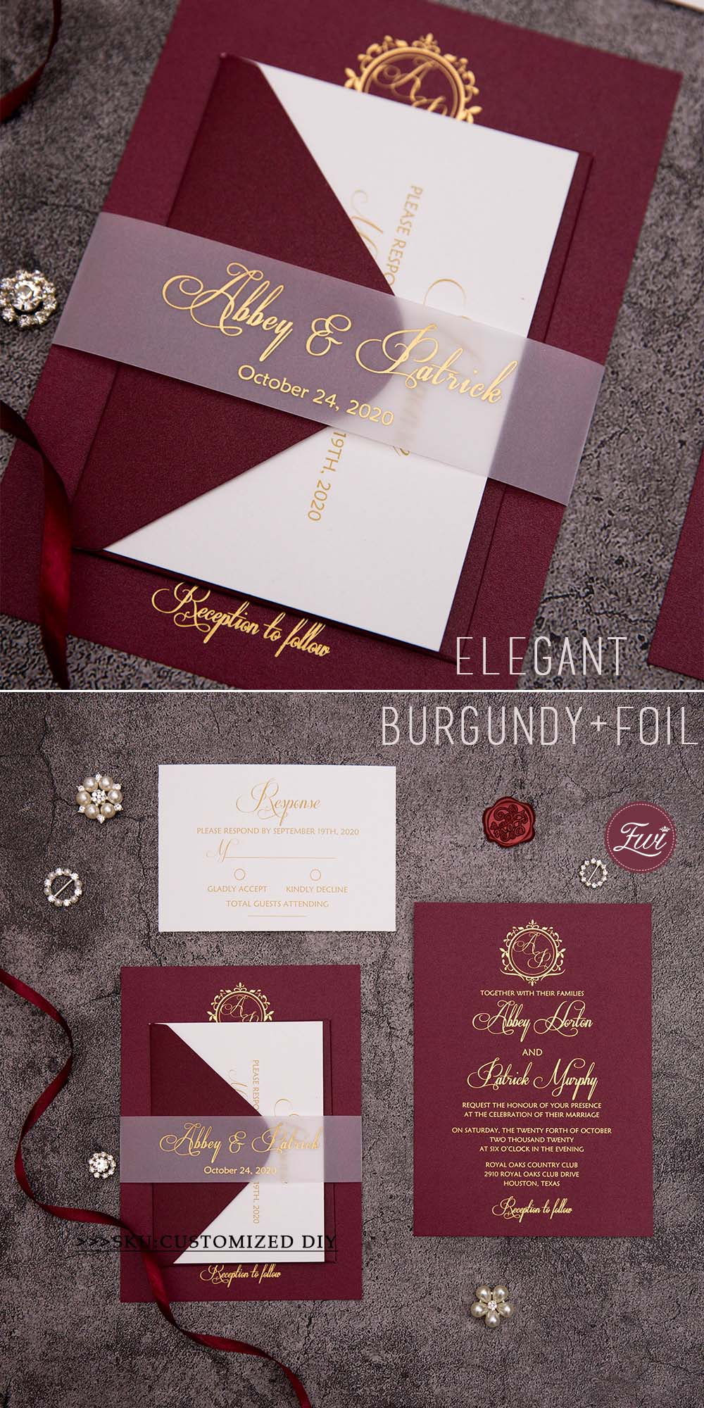 EWI450 Merlot burgundy invitations with foil print and translucent vellum belly band