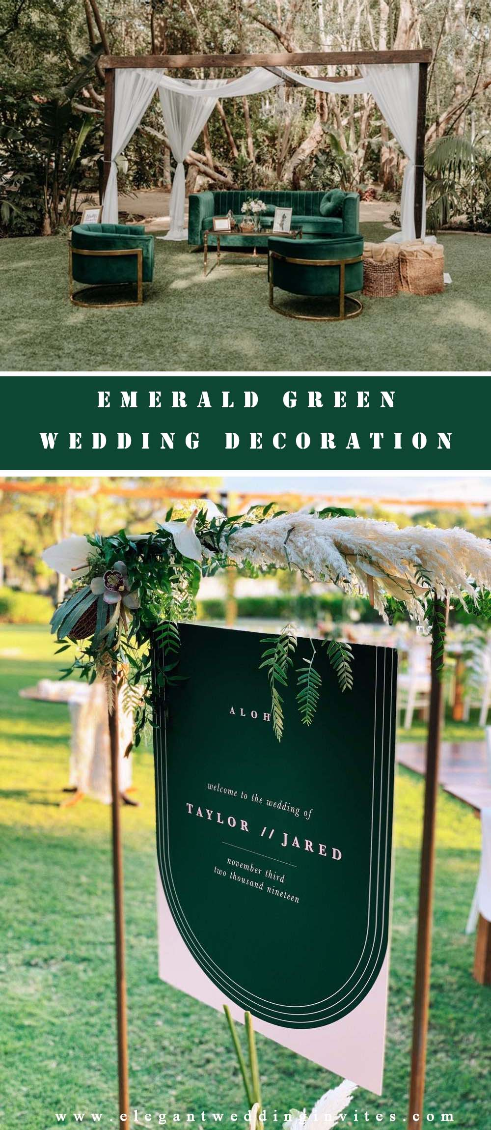 Popular Wedding Decoration Ideas with Emerald Green color