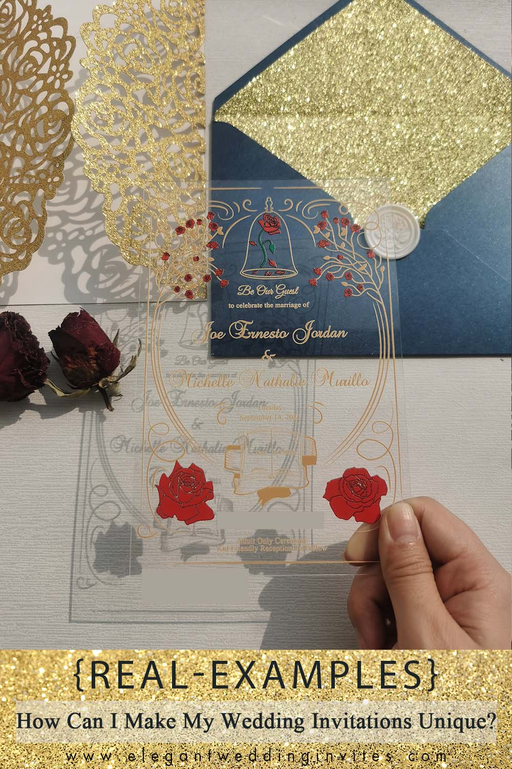 acrylic wedding invitations with glitter laser cut pocket and navy envelope