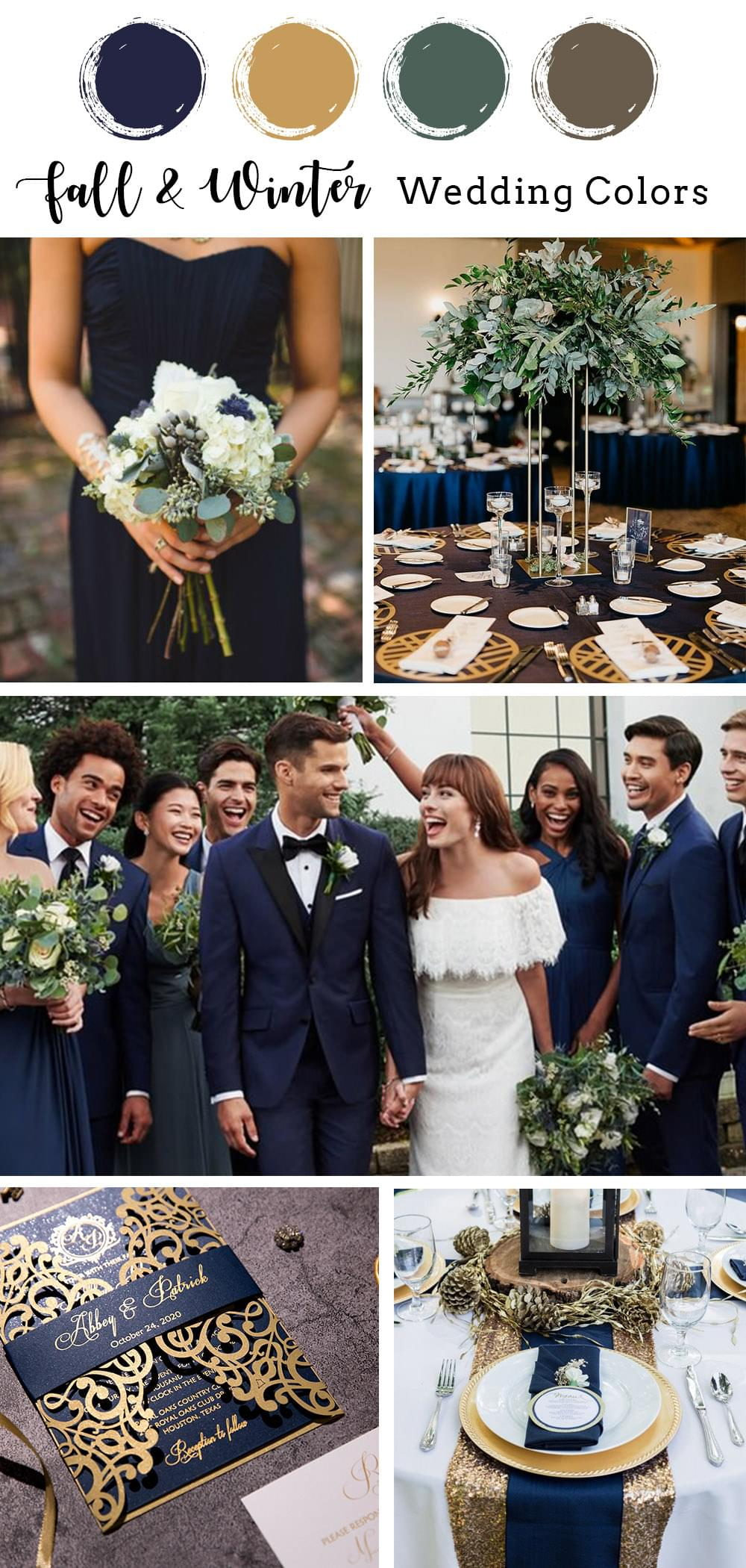classic navy blue and gold fall and winter wedding color ideas