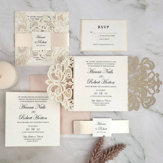 classy ivory laser cut wedding invitations with mirror belly band and tag ewws290