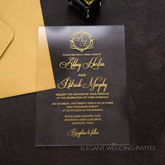 clearly regal acrylic wedding invitation thickness 2mm with regal crest monogram EWIA010