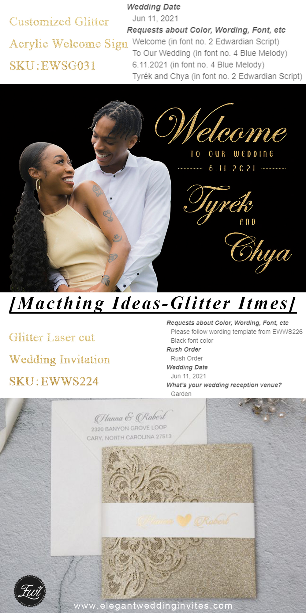 customized glitter wedding invitations and signs for luxury wedding ideas