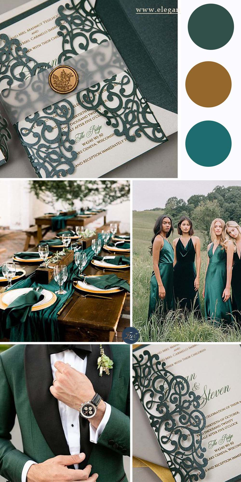 emerald green and gold moody wedding colors and invitations