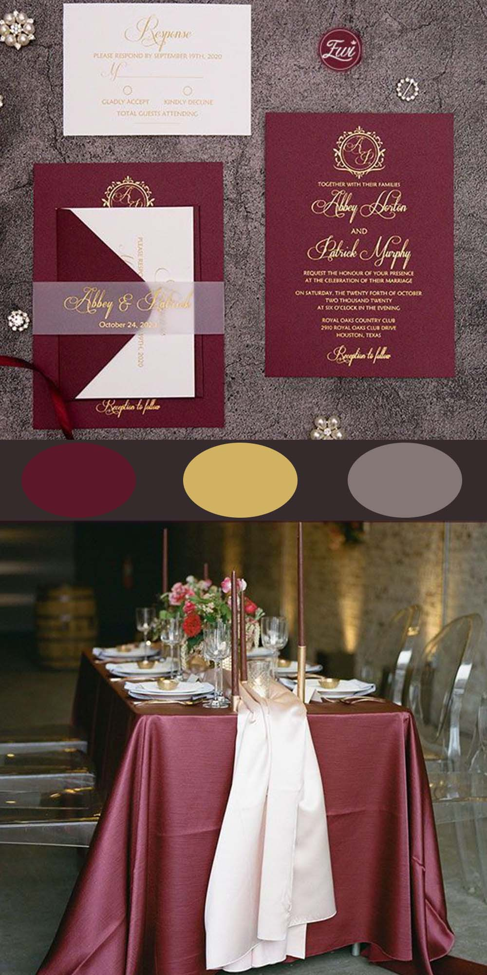 fall moody color burgundy wedding Invitation suite