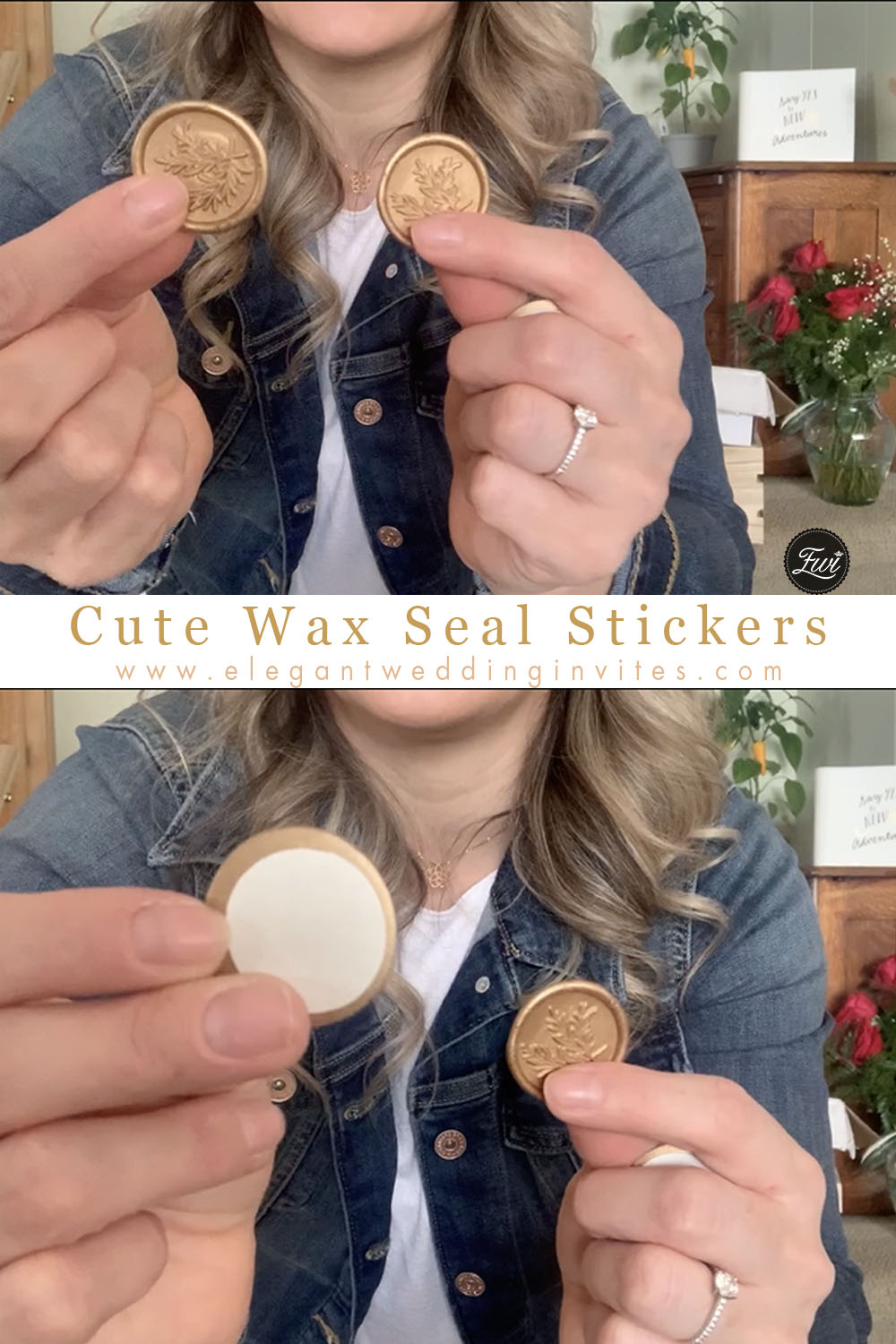 gold leaves wax seal stickers for wedding invitations