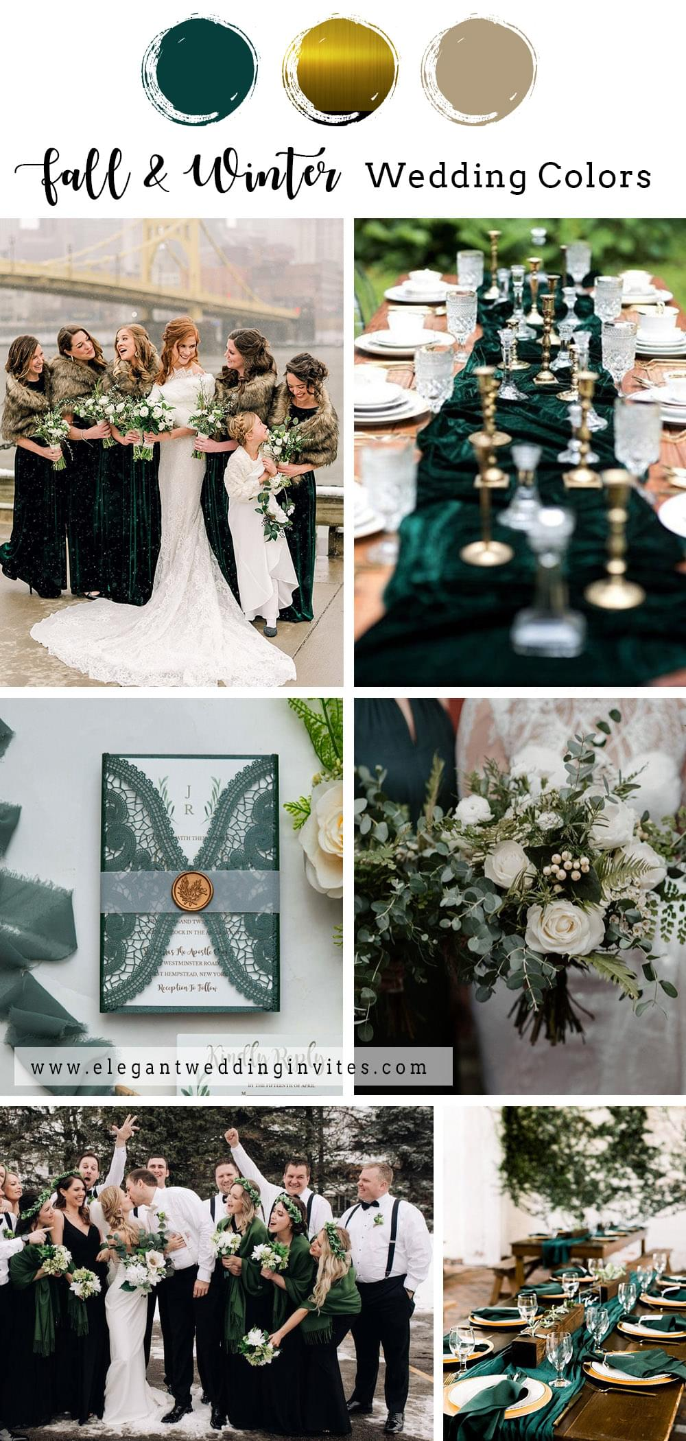 modern emerald green and gold fall and winter wedding color inspiration