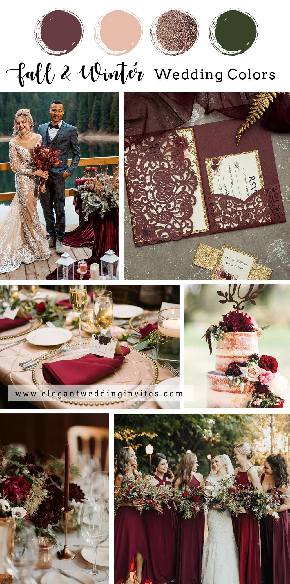 modern vintage burgundy and gold fall and winter wedding color combo