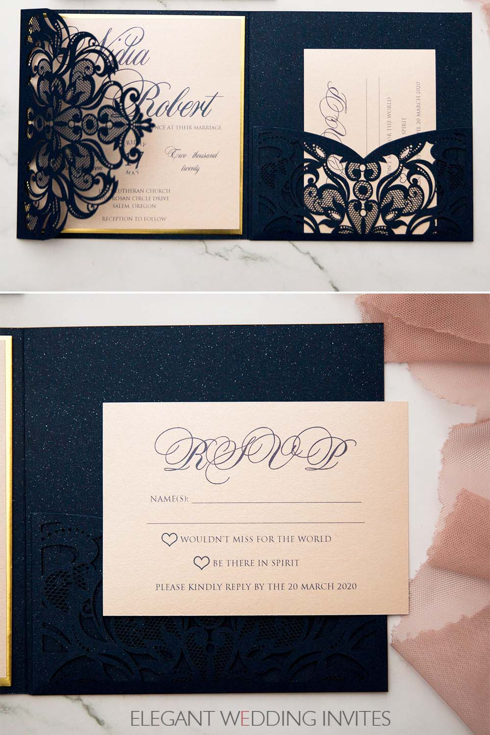 rsvp cards for navy sparkly laser cut pocket fold with modern blush invitation and mirrored backer