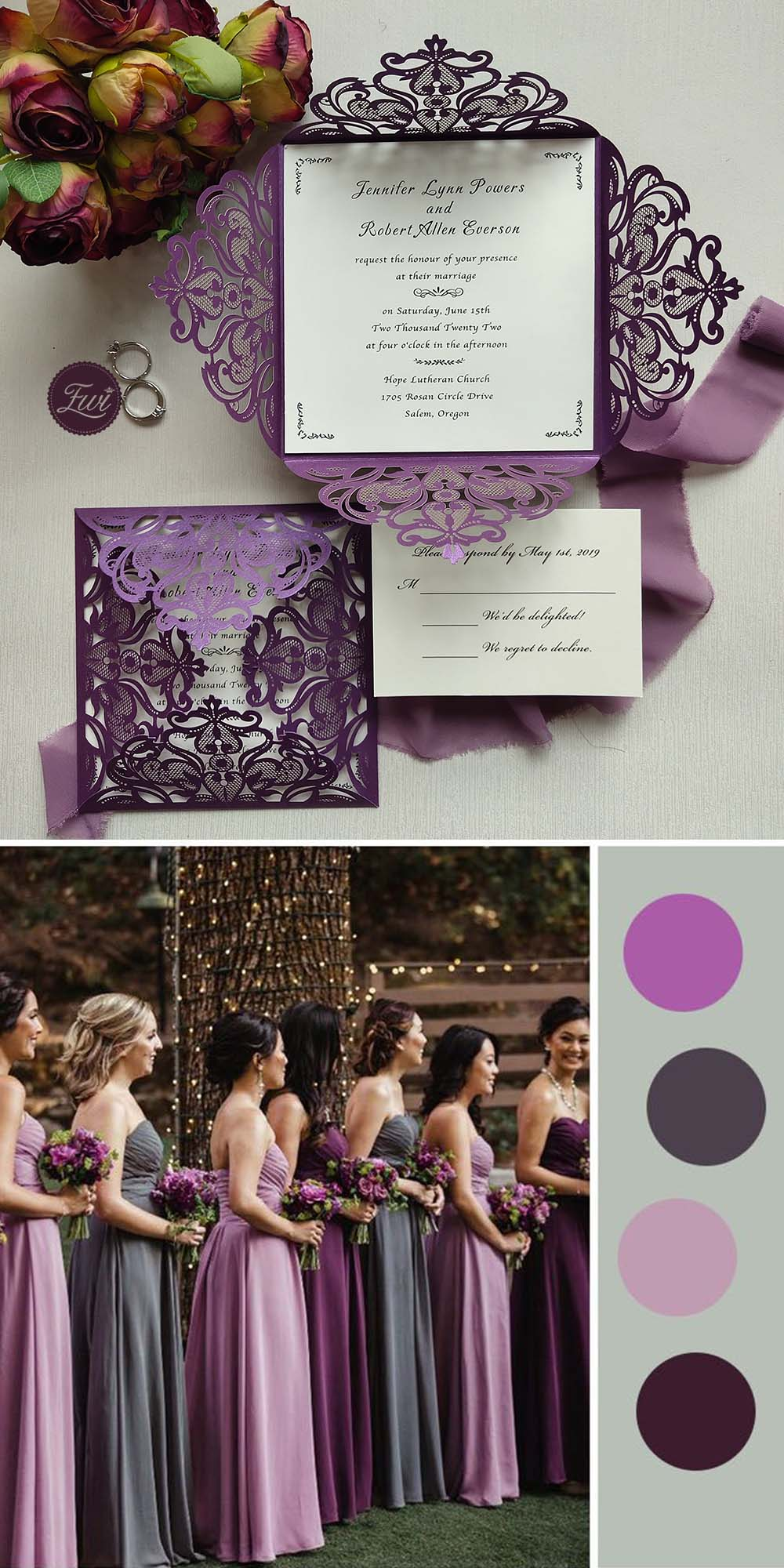shades of purple wedding invitations for fall winter moody color ideas