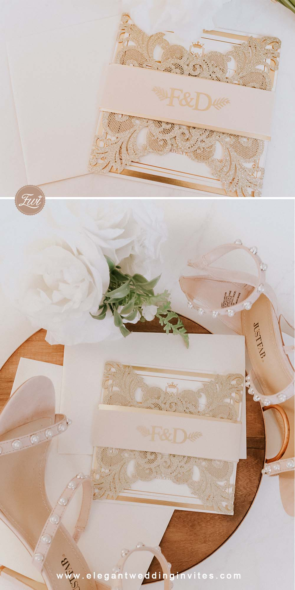Glowing in Gold Glittery Gold Laser Cut Wrap with Vellum Belly Band and Gold Foil Imprint for elegant wedding ideas