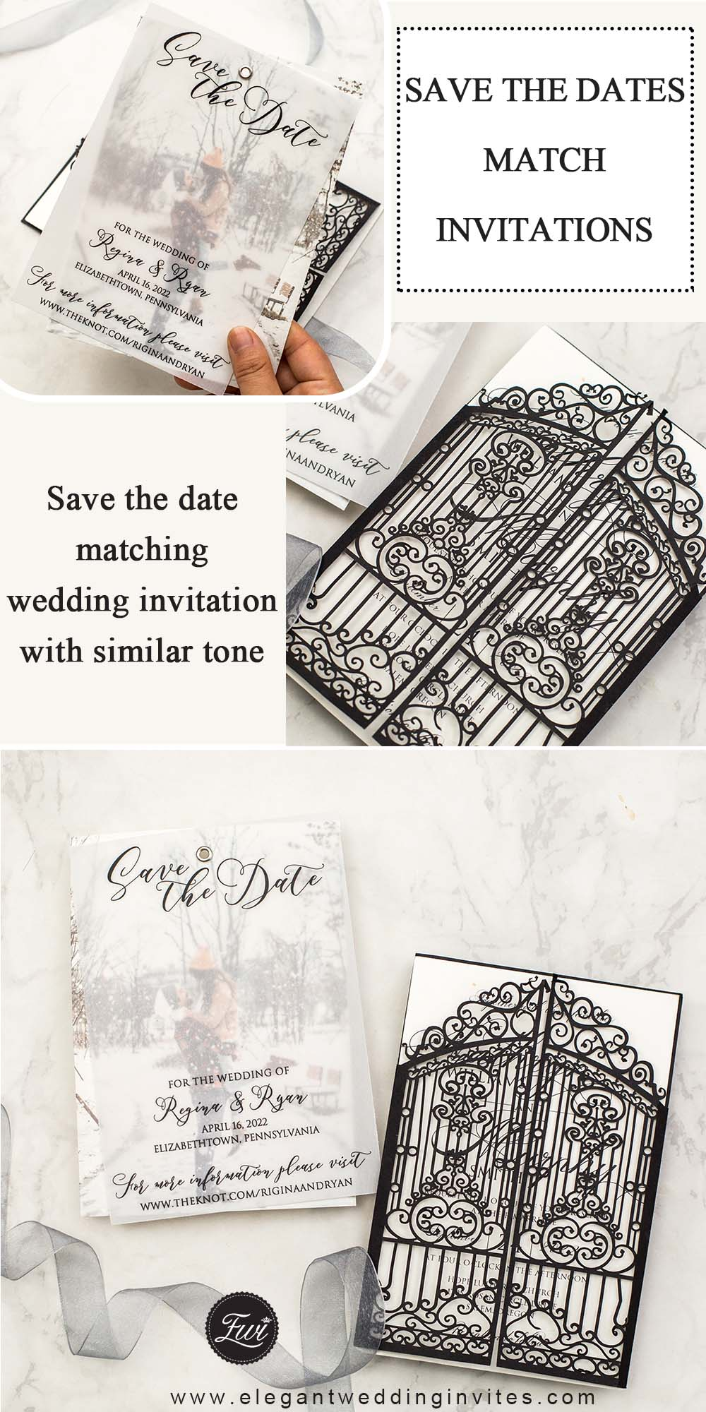 Save the Dates Match Invitations with similar black color and tone