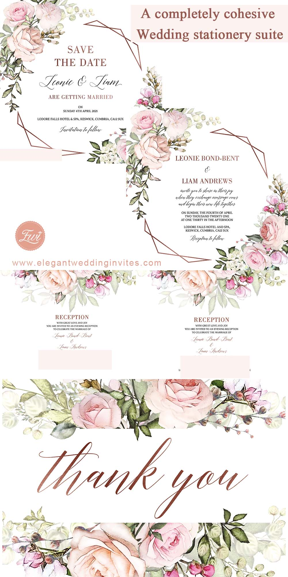 a completely cohesive and coordinated blush floral wedding stationery suite