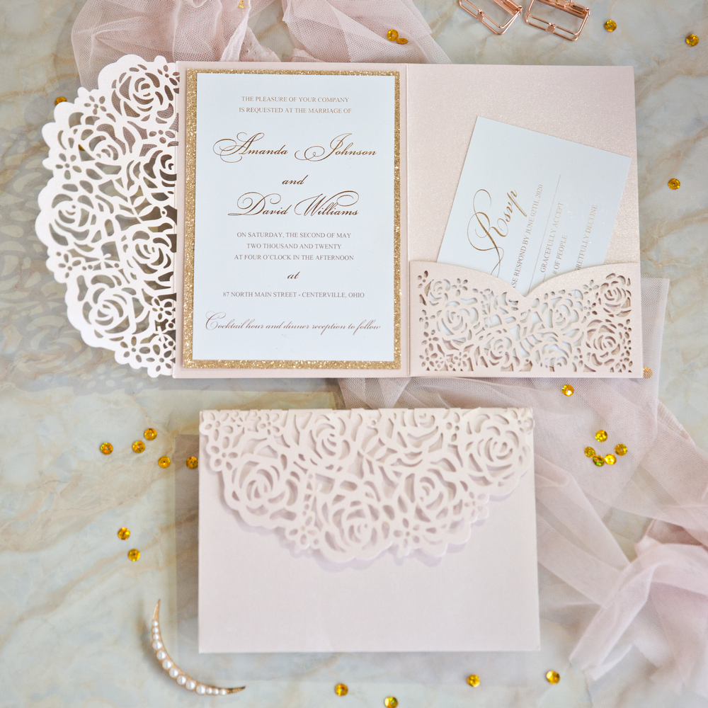 blush pink and rose gold glitter backer and lace pocket wedding invitations