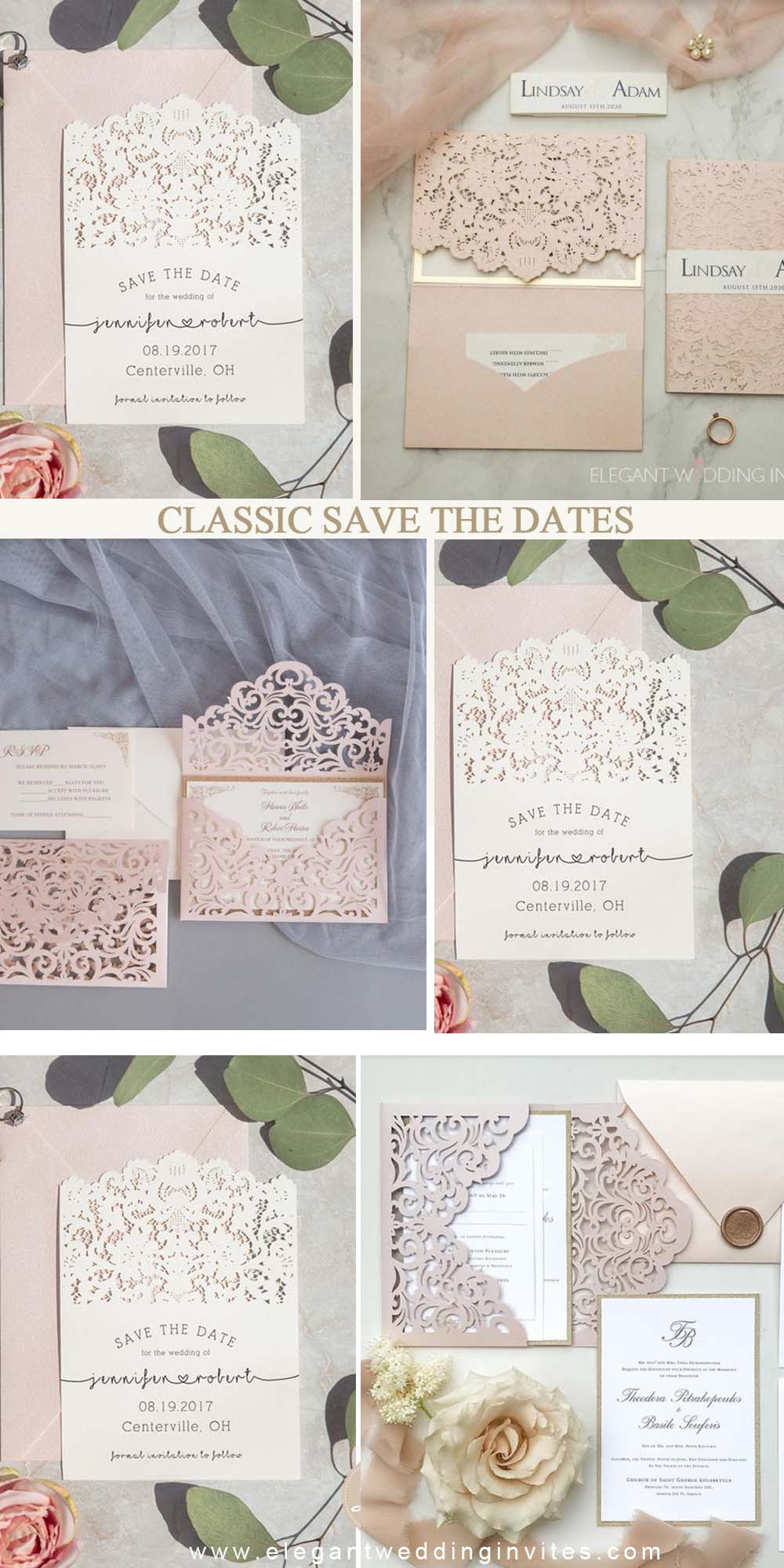 classic elegant save the date cards macthing various wedding invitations