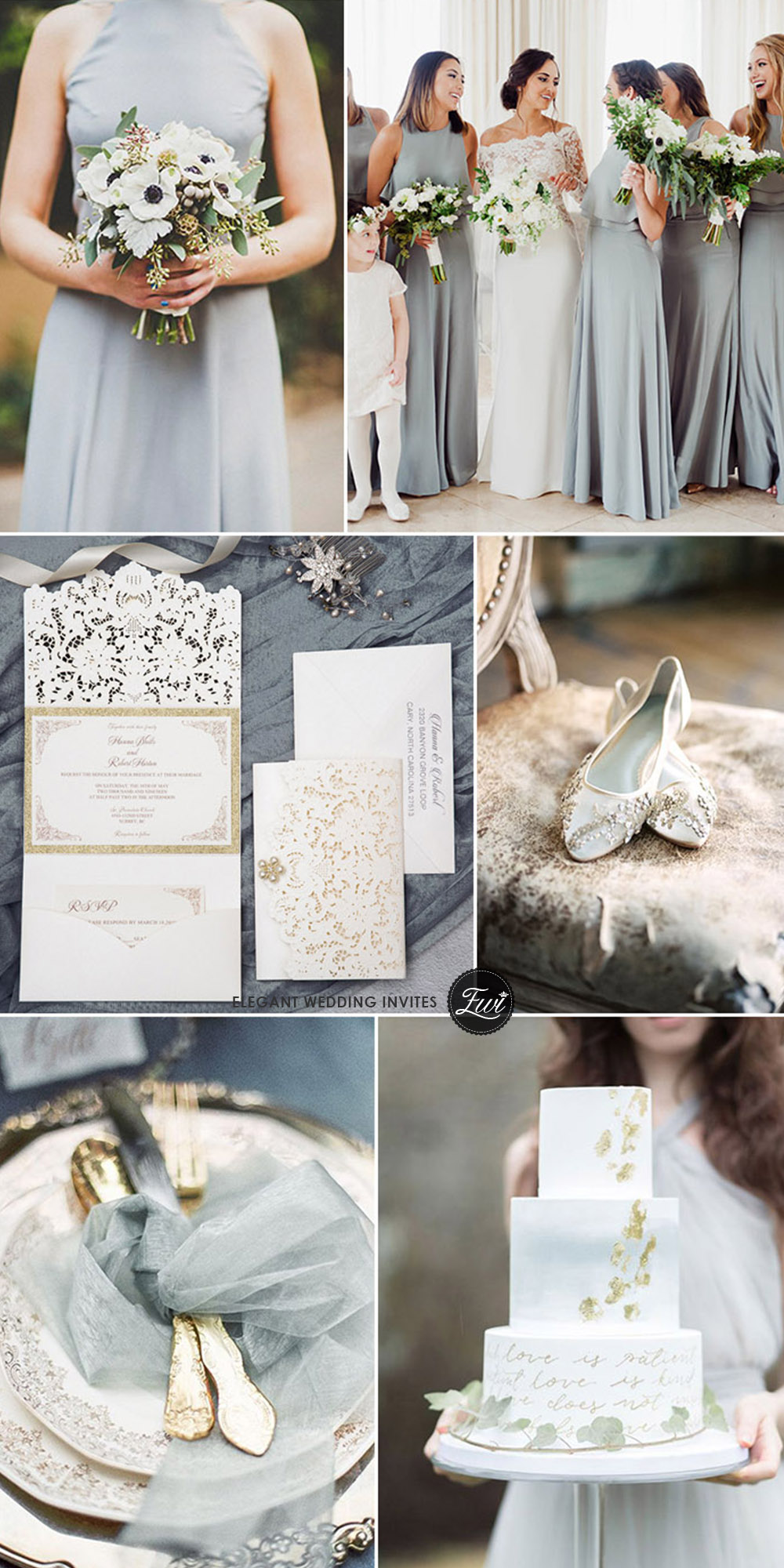 elegant sage and gold glittter neutral winter wedding colors with invitation ideas