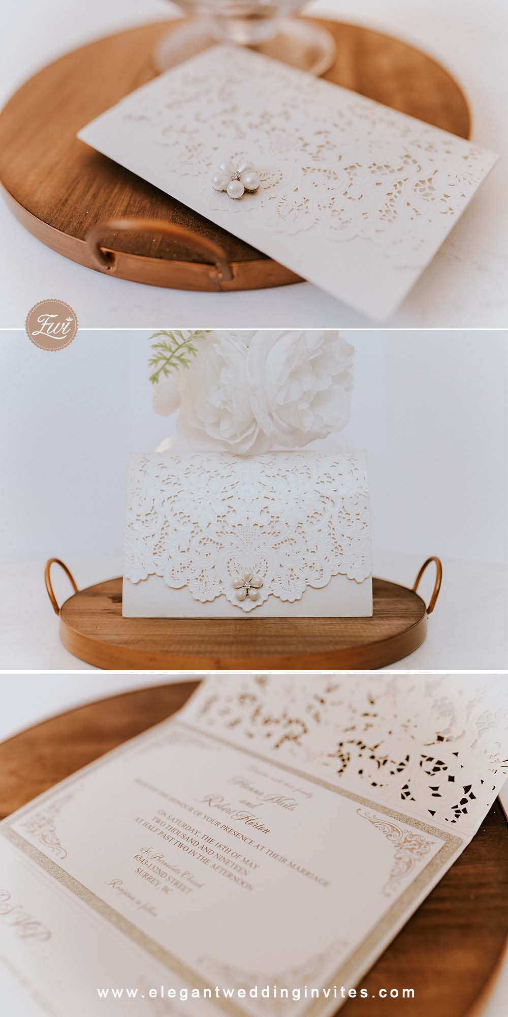 formal elegant ivory and champagne gold glittery pocket wedding invitations with pearl EWWS226